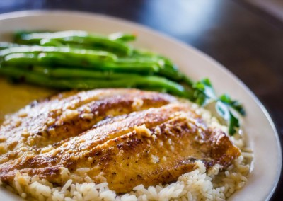 Baked Fish on Rice with Garlic Green Beans